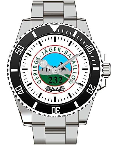 GebJgBtl 232 Gebirgsjäger Btl BW Bundeswehr Motiv Uhr - Armbanduhr 1016