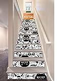 XUE Adesivo scalinata Cartone Animato in Bianco e Nero Cat Decal Decorazione 3D Murals Scale Corridoio Adesivi Art Decor Camere da Letto Home Soggiorno Natale Cucina