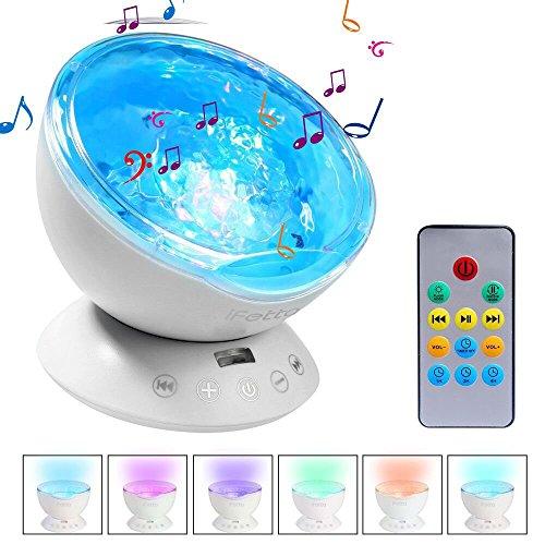 Ifecco Reflector Oceánico Mejorado de , Luz Nocturna LED con Control Remoto, Integrado con Reproductor de Música 12 LED y MODO de 7 Colores para Habitación (Blanco)