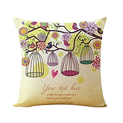 HowiseAcc Bird and Birdcage Cotton Linen Decorative Throw Pillow Case Sofa Cushion Cover Home Decor Gift - inexpensive UK light store.