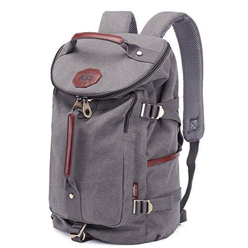 KAUKKO Multi-Function Vintage Canvas Rucksack Backpack Hiking Travel Military Backpacks Messenger Bag,Grau,L