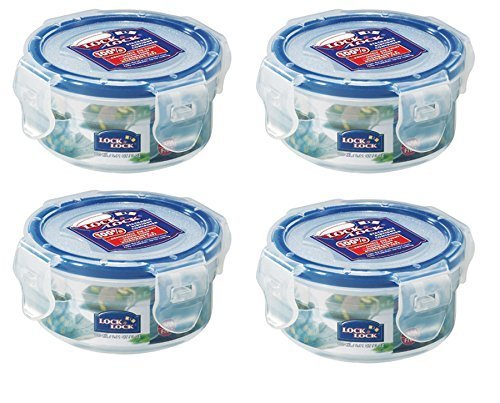 Schloss & LOCK 100 ml Extra kleiner runder Vorratsbehälter, 4 Stück (Extra Kleine Mit Behälter Deckel)