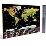 Dakos Scratch Off Travel World Map Wall Poster with Country Flags. -Great Gift for Travelers. 42 x 30 cms