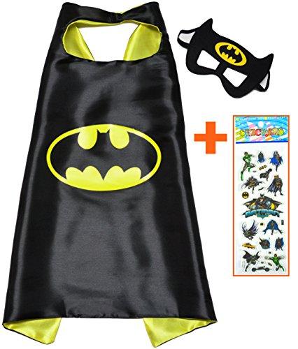Batman Superhelden-Kostüme für Kinder-Cape und Maske und aufkleber-Spielsachen für Jungen und Mädchen-Kostüm für Kinder von 3 bis 10 Jahre-für Fasching oder Motto-Partys!-King (Batman Cosplay Kostüm Robin)