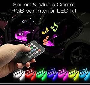 Strisce luminose a led blu neon per interni auto luci flessibili con adattatore accendisigari - Strisce a led per interni ...