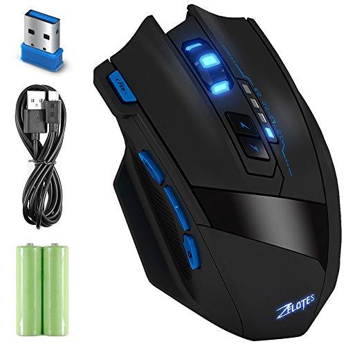 Ratón óptico Inalámbrico, AFUNTA ZElOTES F15 2.4Ghz Wireless Mouse Ratón para Gaming Profesional 2500 DPI Ajustable 9 Botones del Ratón del Ordenador óptico con luces LED para PC Mac Pro Gamer