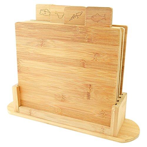 Top Home Solutions 5 Teile Symbol Codierten Bambus Schneidebrett Set mit Ständer