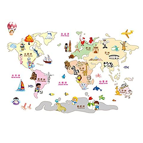 Winhappyhome Education Enseignement Enfants Carte Du Monde Amovible Wall Art