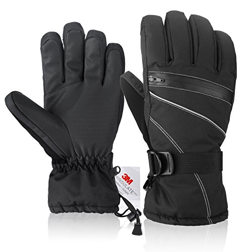 Fazitrip Men's 3M Thinsulate Waterproof and Windproof Ski Gloves/Winter Gloves for Skiing, snowboarding and riding (Black, M/L)