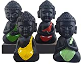 #2: eCraftIndia Handcrafted Set of 4 Meditating Buddha- For Home Decor| Office Decor| Chrismas Decor| Diwali Decor| Vaastu Decor| Fengshui