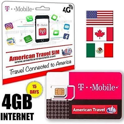 Tarjeta SIM Prepago para USA, Canada y Mexico - 4 GB de INTERNET a Velocidad 4G / LTE, Llamadas y Textos ilimitados Internacionales - 15 Días de servicio