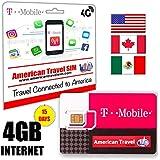 Prepaid-SIM-Karte - 4GB DATA 4G LTE für USA, Canada & Mexiko - Unbegrenzte Anrufe und internationale SMS (15 Tage)
