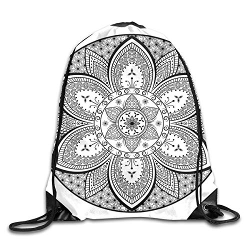 Drawstring Backpack Gym Bags Storage Backpack, Mandala Ethnic Tribal Design Leaves Flowers Ivy Swirls Dots Artwork Image Print,Deluxe Bundle Backpack Outdoor Sports Portable Daypack -