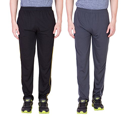 Grabberry Solid Black And Light Grey Cotton Track Pant For Men's