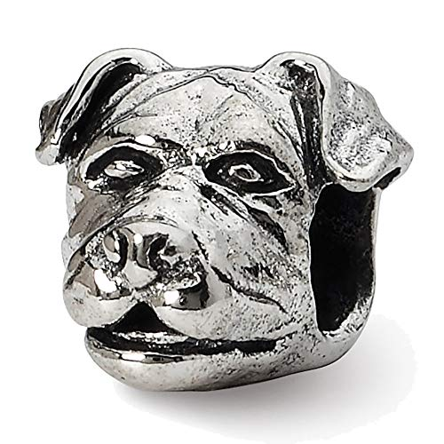 Lex & LU Sterling Silber Reflexionen Rottweiler Kopf Perlen -