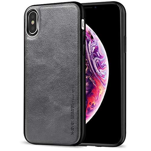 X-level iPhone XS Hülle, iPhone X Hülle, [Earl 3 Serie] Slim Fit Premium PU Leder Case mit TPU Silikon Tasche Weich Ledertasche Schutzhülle Handyhülle für Apple iPhone XS/iPhone X - Grau Series Leder Tasche Case