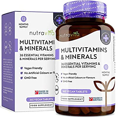 Multivitamins & Minerals | 365 Vegan Multivitamin Tablets (1 Year Supply) with 26 Essential Active Vitamins & Minerals | Multivitamin Tablets for Men and Women | Made in the UK by Nutravita by Nutravita