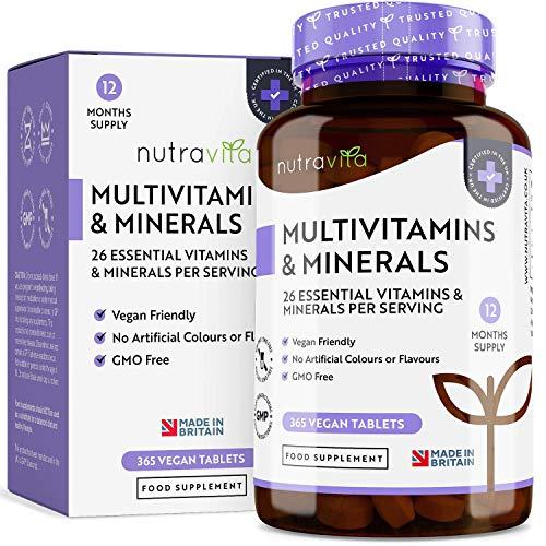 Multivitaminas y Minerales - 365 Comprimidos Multivitamínicos Veganos (Suministro para 1...