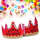 #9: Skky bell Happy Birthday Crown hat (RED Princes) with LED light .best for birthday gift
