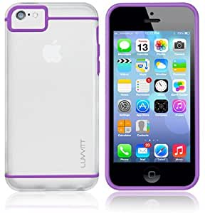 LUVVITT® HYBRID Transparent Slim Clear Back Case with Bumper / Cover for iPhone 5C - Clear / Purple
