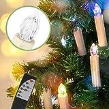 Jingrong 30 er Weihnachten Kerzen RGB, kabellose Farbwechsel Weihnachtskerzen mit Fernbedienung, Weihnachtsbeleuchtung, LED Kerzen in 3 verscheidene Blinkeffekt (Batterie enthalten)
