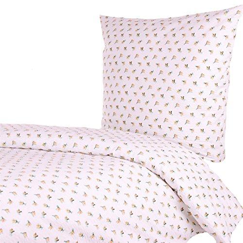 Hans-Textil-Shop Seersucker Bettwäsche 135x200 cm Rosen Blumen Gelb