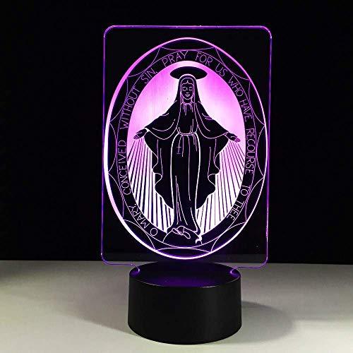 Neuheit Lampe, Led Innovation Geschenke Tischleuchte Der Jungfrau Maria Lampe USB Farbe Visuelle Atmosphäre Dekor for Good Luck -