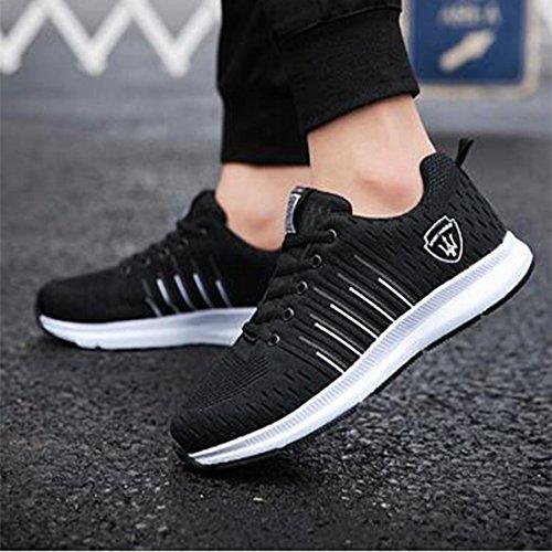 Scarpe sportive da uomo primaverili casual da corsa scarpe da ginnastica da jogging in pizzo black and white