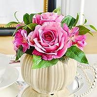 Beata.T Disposizione di emulazione fiore artificiale fiore di seta della Rosa del fiore Kit Tabella Desktop Ikebana Fiori con decorativi pezzo Fiore vita interna Camera,