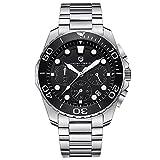 Herren Edelstahl Japanische Quarzuhr Luxus Business Uhr mit Chronograph Funktion Sub-Dial