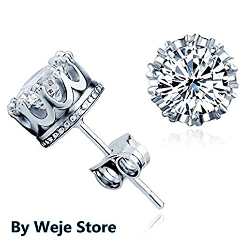 WJkuku New Fashion 925 Sterling Silver Crown Shaped Austrian Crystal Stud Earrings for Both Men and Women Gift