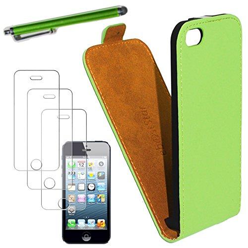 ebestStar - pour Apple iPhone 5C - Housse Coque Etui à rabat PU cuir ULTRA FIN (ultra slim case) + Stylet tactile + 3 Films protection écran, Couleur Vert [Dimensions PRECISES de votre appareil : 124. Vert