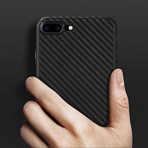 doupi UltraSlim Case iPhone 8 / 7 Plus ( 5,5 pouces ) [ Chargeur sans fil pris en charge ] fin mat ultra mince et ultra léger Bumper Cover Housse de Protection Shell Coque - noir Noir - Fibre Carbonique