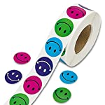 Morningtime Sticker Labels Stickers 500PCS 2.5cm Round Adhesive Labels Roll Smiley Face Colorful Happy Face For Teachers Stickers for Class Party Reward