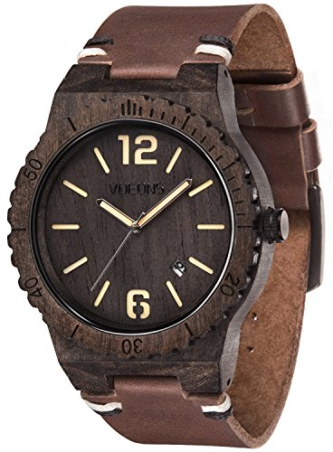 VOEONS Herren Uhren - Holz Armbanduhr mit braunem Lederarmband handgefertigte Holzuhr