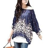 Women Batwing Chiffon Shirt JLTPH Bohemian Semi Sheer Loose Blouse Tunic Tops (color21)