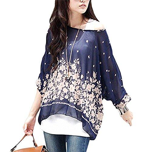 T-shirt donna fiori - bienbien maglietta manica 3/4 bohemian chiffon blusa taglie forti t shirt stampa