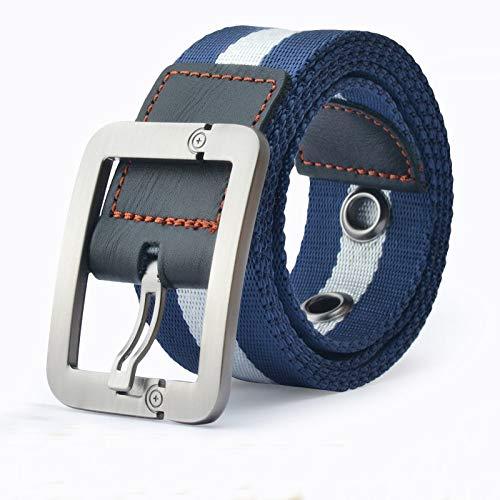 Preisvergleich Produktbild Svyioo Taktischer Gürtel Unisex Leinwand Jugend Lässig Student Dornschließe Blauer Streifen 110cm A1893