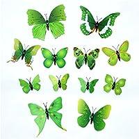 Dosige 12 Pcs Pegatinas de pared tridimensionales pegatinas de pared de mariposa 3D Adornos de mariposa de simulación Pegatinas de pared decorativas para la cocina Verde