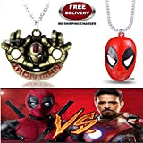 (2 Pcs AVENGER SET) - IRONMAN HANDS (GOLD) & DEADPOOL MASK (RED) IMPORTED PENDANTS WITH CHAIN. LADY HAWK DESIGNER SERIES 2018. ❤ ALSO CHECK FOR LATEST ARRIVALS - NOW ON SALE IN AMAZON - RINGS - KEYCHAINS - NECKLACE - BRACELET & T SHIRT - CA