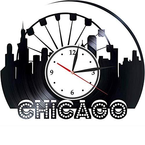 Chicago Vinyl Wanduhr Für Mädchen Jungen Dekoration Für Wohnzimmer Küche Wolkenkratzer Michigansee Millennium Park Chicago Bears Illinois