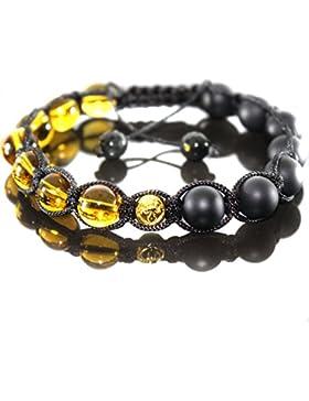 Herren Shamballa Matt Onyx Yellow Crystal Energie Glücksbinger Armband für Männer,verstellbar