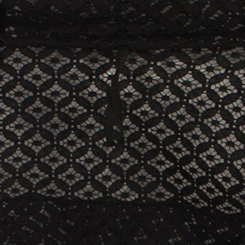 Damen zugeschnitten Bolero mit Damen Lange Ärmel Spitze alle über Bolero Kleid Coat - Schwarz 2