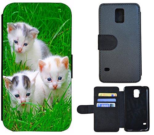 Schutz Hülle Flip Cover Handy Tasche Etui Case für (Apple iPhone 5 / 5s, 1135 Wolf Huski Tierbaby Grau Weiß) 1133 Katze Katzenbabys Kätzchen Weiß Grün