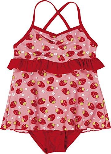 Badeanzug Erdbeer (Playshoes Mädchen Einteiler Badeanzug mit Rock Erdbeeren, Gr. 110 (Herstellergröße: 110/116), Mehrfarbig (original 900))