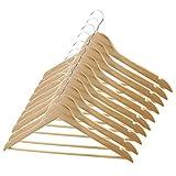 non-brand Sharplace 10 x Kleiderbügel aus Holz, mit Rockkerben und Hosensteg 45 cm, 360 Grad Drehbar