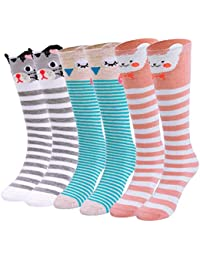 ad463f2ad Lamdgbway Cartoon Girl Knee High Socks Cotton Kids Long Stockings School  Socks for 3-12