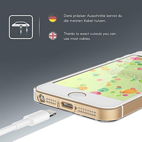Urcover® iPhone 5 / SE Hülle | Trend Fashion | TPU in Mandala Mint | Zubehör Tasche Case Handy-Cover Schutz-Hülle Schale Mandala Mint