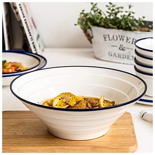YYF Bol en céramique blanc et bleu sur le côté - Grand bol à soupe pour nouilles Plats Assiette à soupe Assiette à soupe Salade de fruits Bol à dessert 6-10 pouces (Taille : 25.3cm)