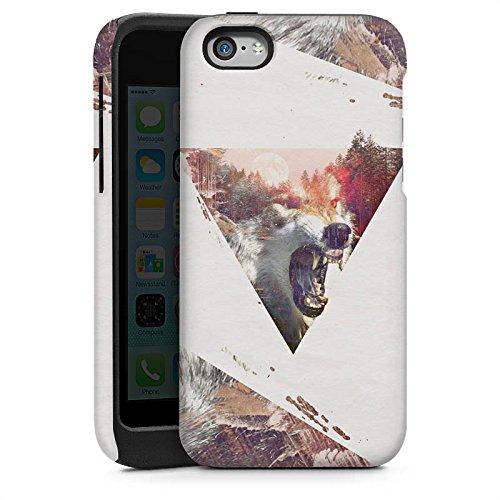 Apple iPhone 5s Housse Étui Protection Coque Hipster Loup Triangle Cas Tough brillant